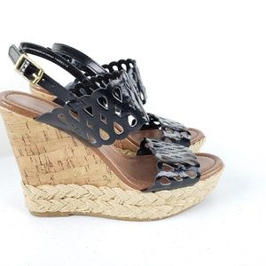 Montego Bay Club Black Cork Wedge Sandals